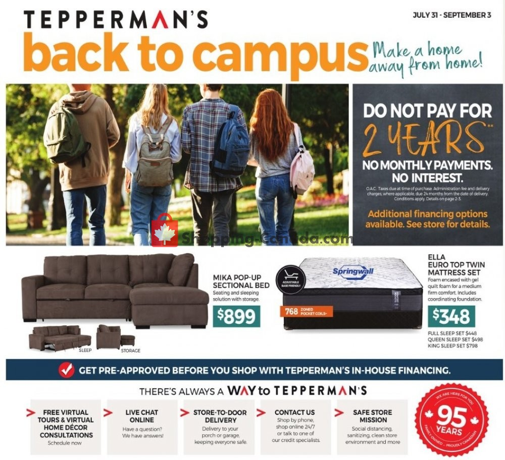 Flyer Tepperman's  Canada - from Friday July 31, 2020 to Thursday September 3, 2020