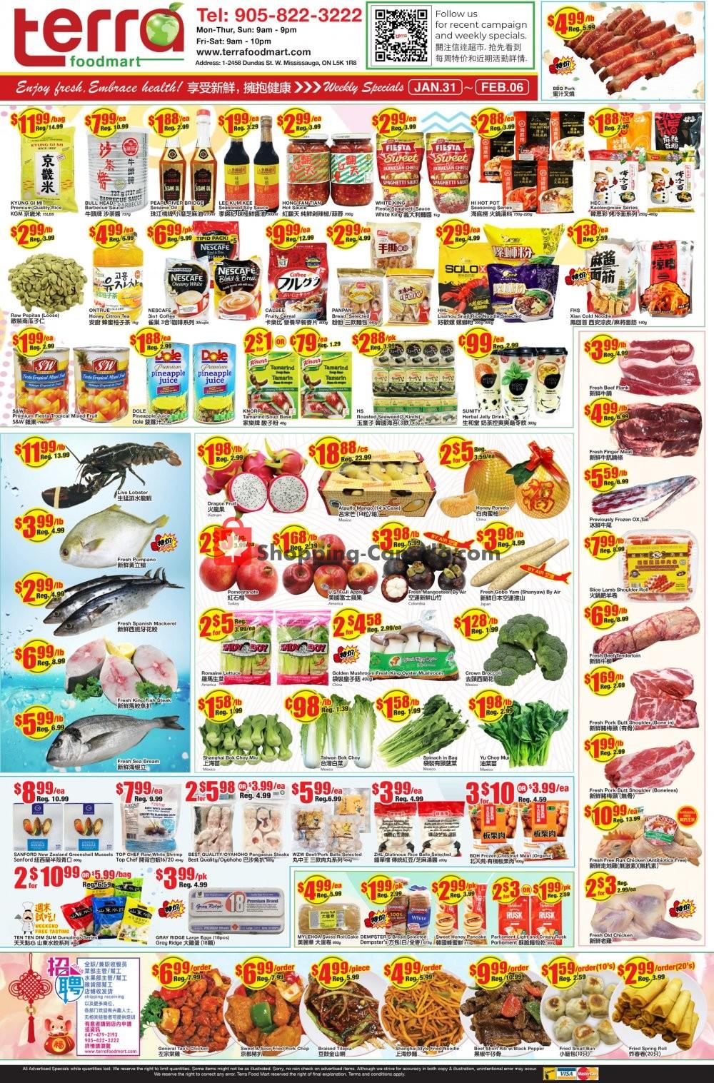 Flyer Terra Foodmart Canada - from Friday January 31, 2020 to Thursday February 6, 2020