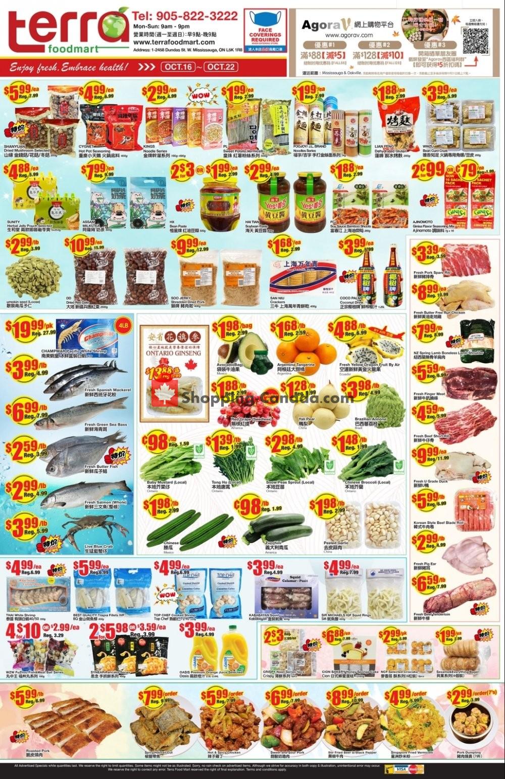 Flyer Terra Foodmart Canada - from Friday October 16, 2020 to Thursday October 22, 2020