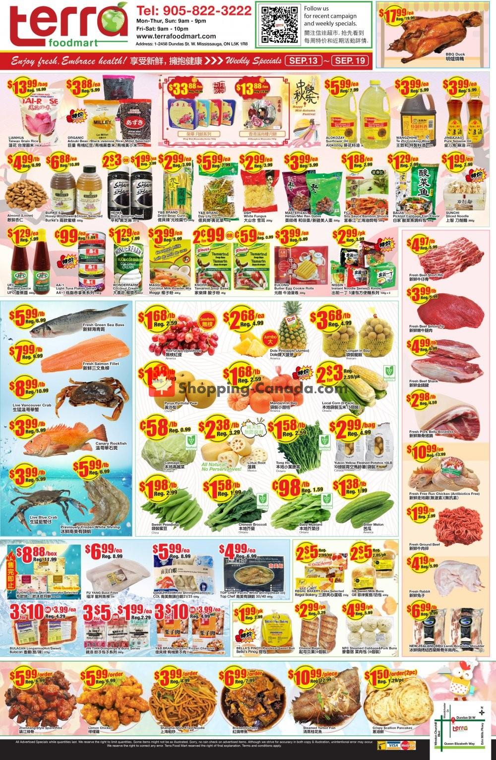 Flyer Terra Foodmart Canada - from Friday September 13, 2019 to Thursday September 19, 2019