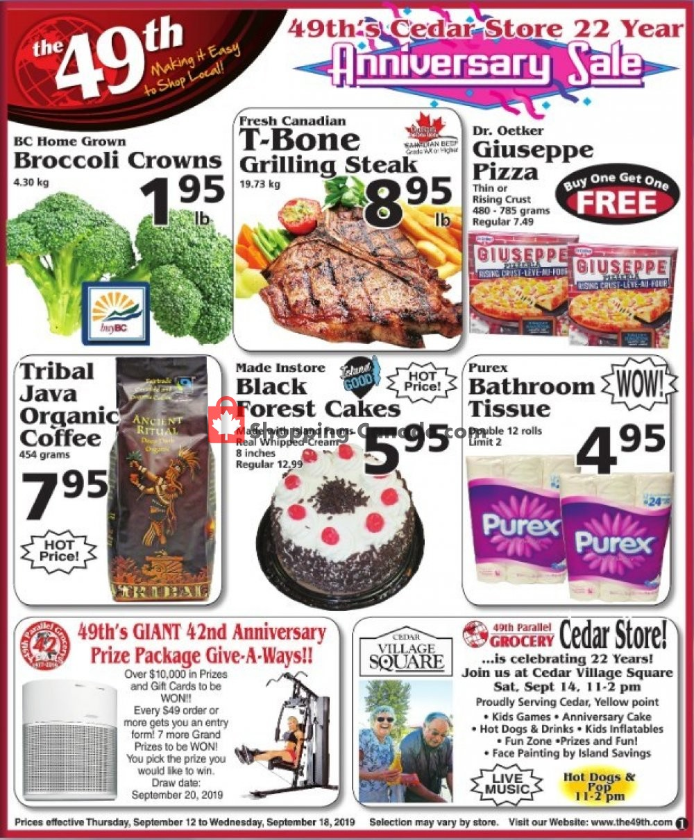 Flyer The 49th Parallel Grocery Canada - from Thursday September 12, 2019 to Wednesday September 18, 2019
