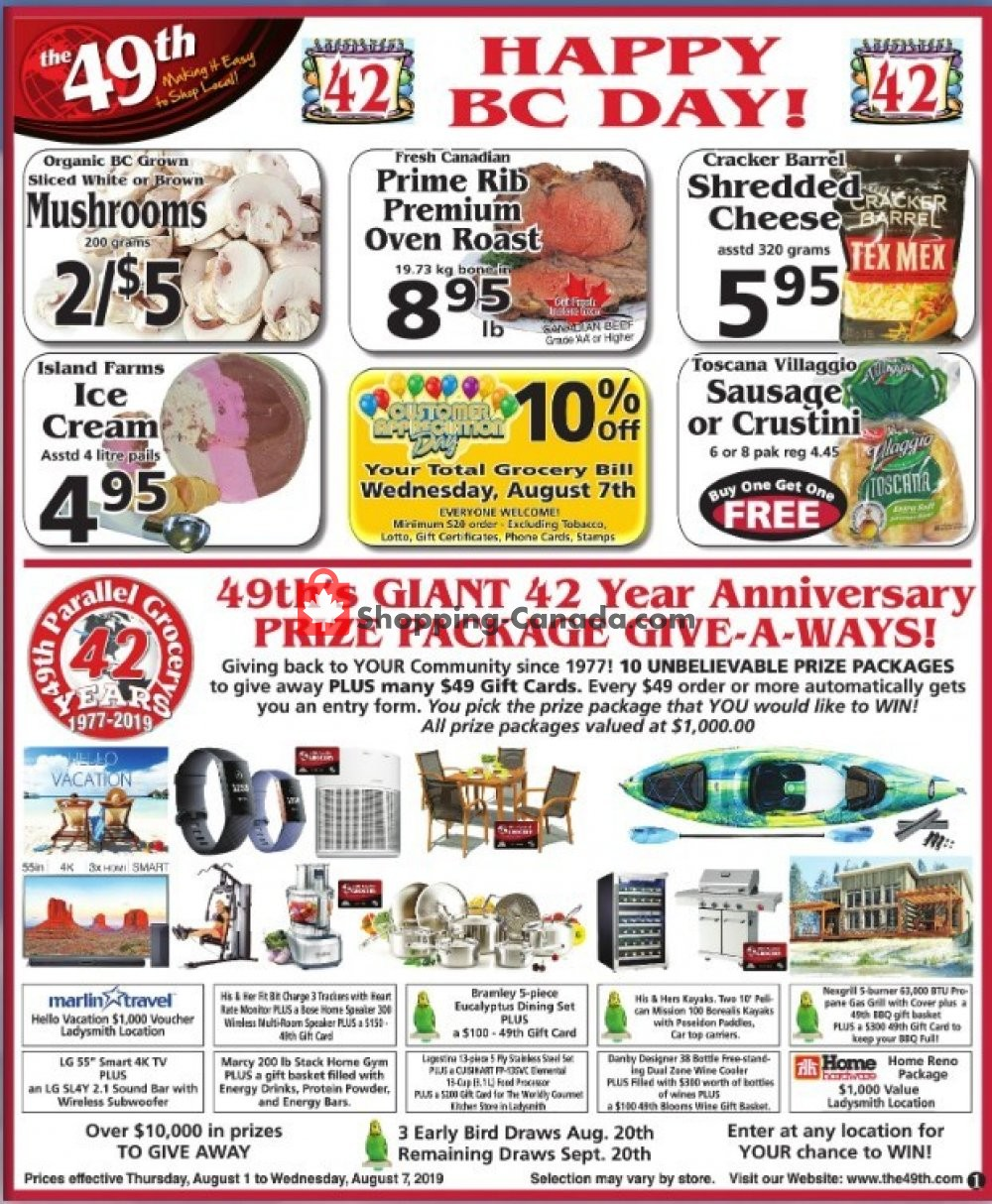 Flyer The 49th Parallel Grocery Canada - from Thursday August 1, 2019 to Wednesday August 7, 2019
