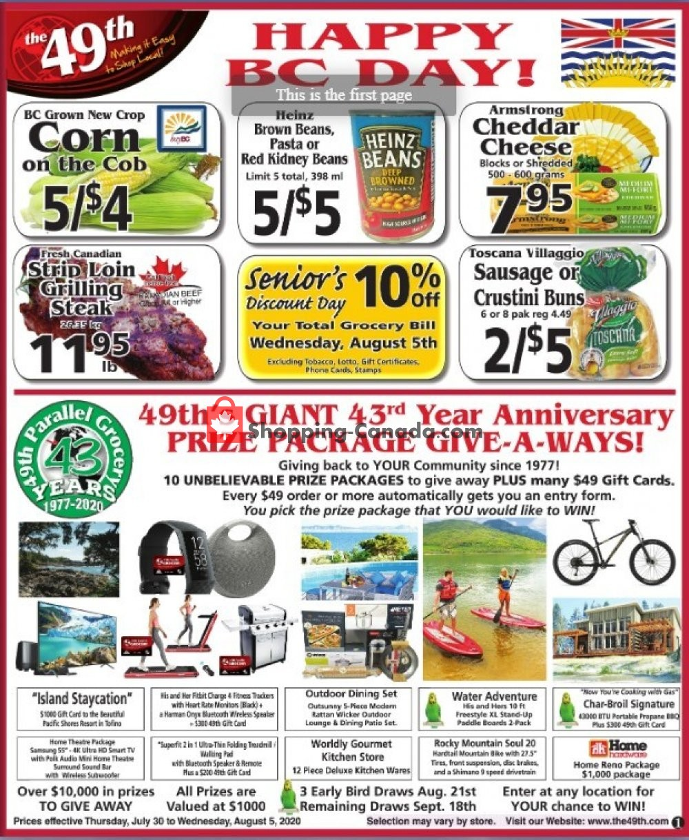 Flyer The 49th Parallel Grocery Canada - from Thursday July 30, 2020 to Wednesday August 5, 2020