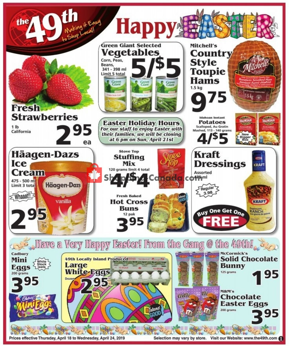 Flyer The 49th Parallel Grocery Canada - from Thursday April 18, 2019 to Wednesday April 24, 2019