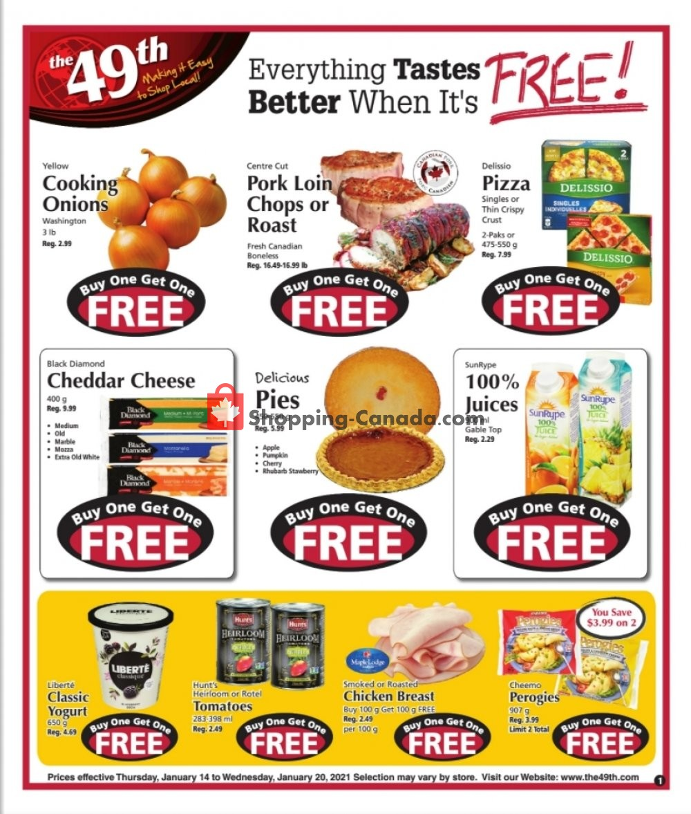 Flyer The 49th Parallel Grocery Canada - from Thursday January 14, 2021 to Wednesday January 20, 2021