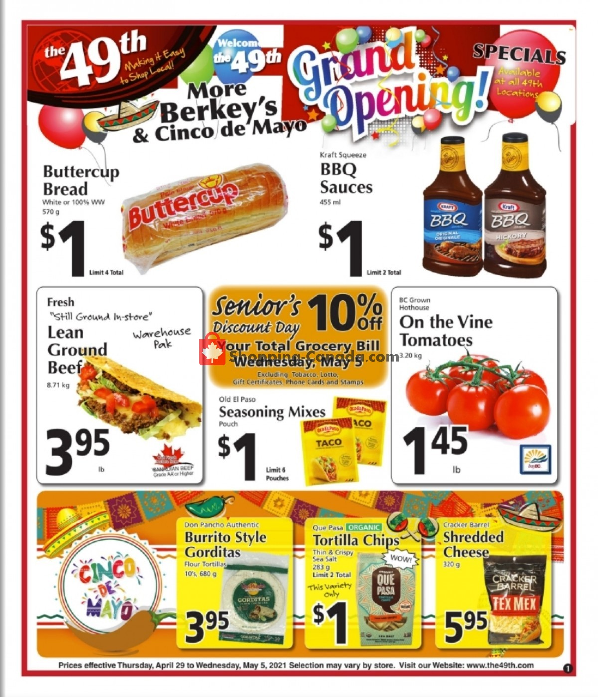 Flyer The 49th Parallel Grocery Canada - from Thursday April 29, 2021 to Wednesday May 5, 2021