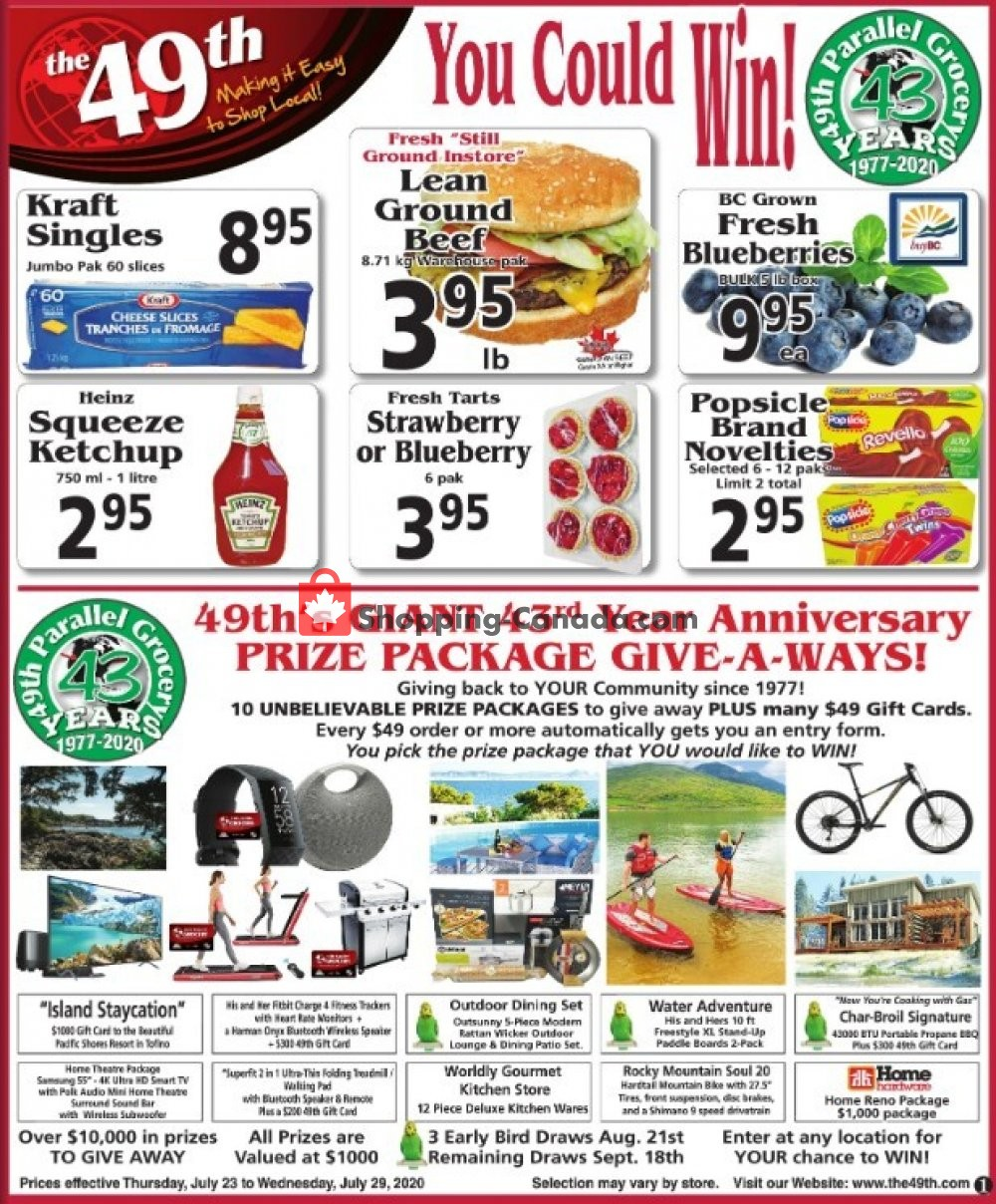 Flyer The 49th Parallel Grocery Canada - from Thursday July 23, 2020 to Wednesday July 29, 2020