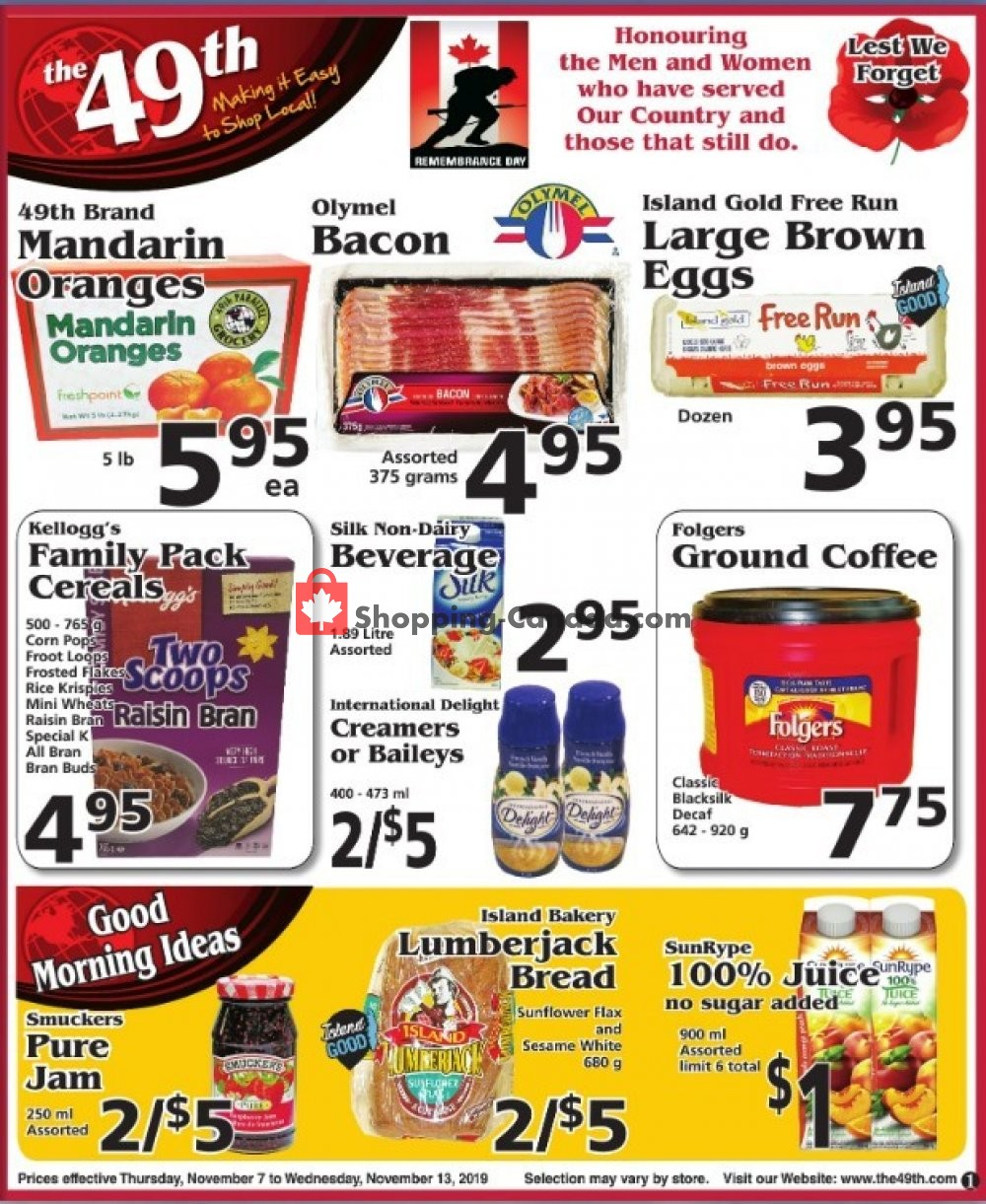 Flyer The 49th Parallel Grocery Canada - from Thursday November 7, 2019 to Wednesday November 13, 2019