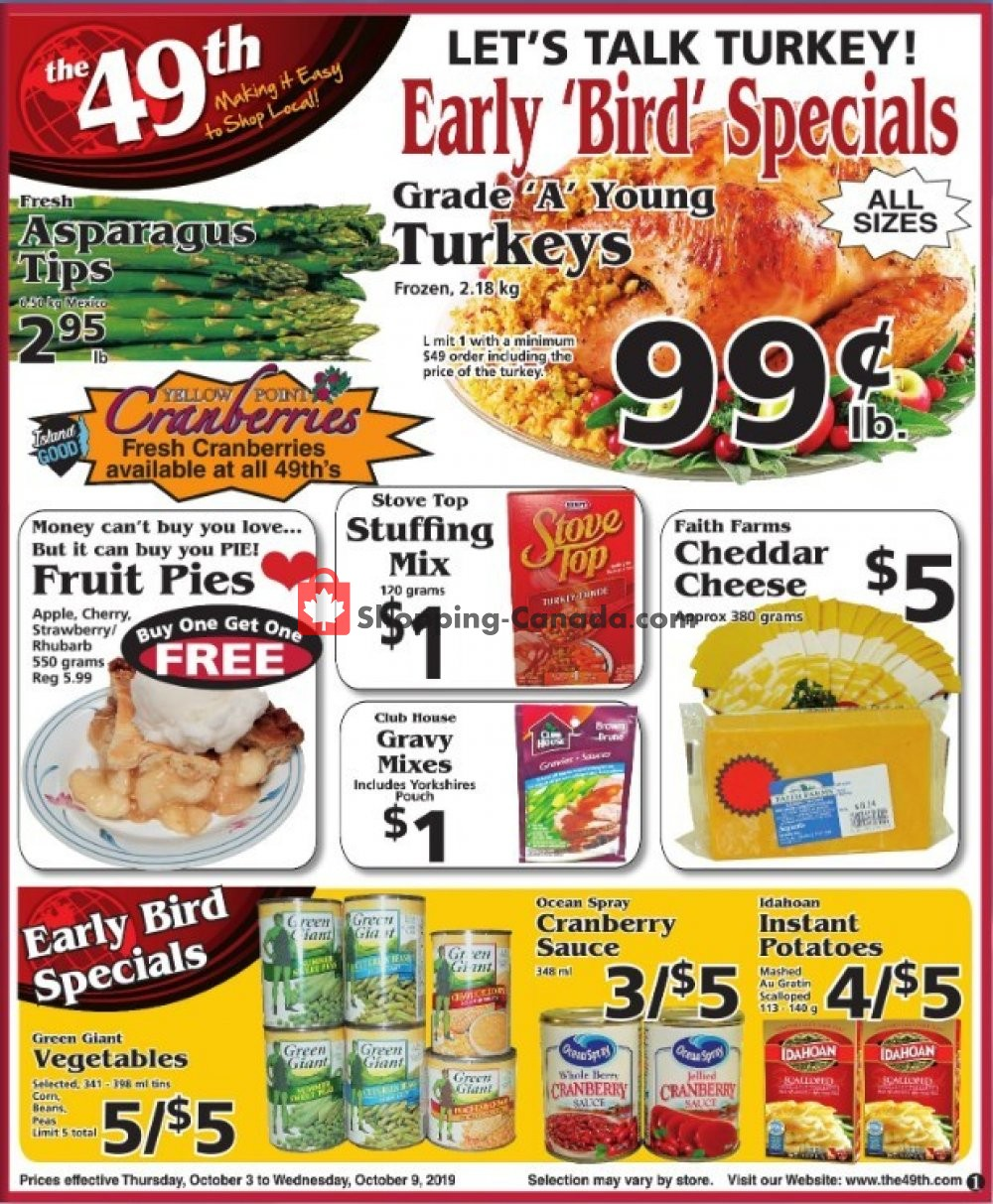 Flyer The 49th Parallel Grocery Canada - from Thursday October 3, 2019 to Wednesday October 9, 2019