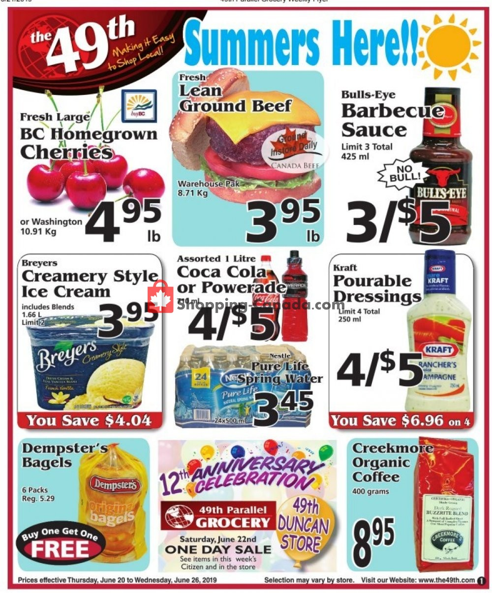 Flyer The 49th Parallel Grocery Canada - from Thursday June 20, 2019 to Wednesday June 26, 2019