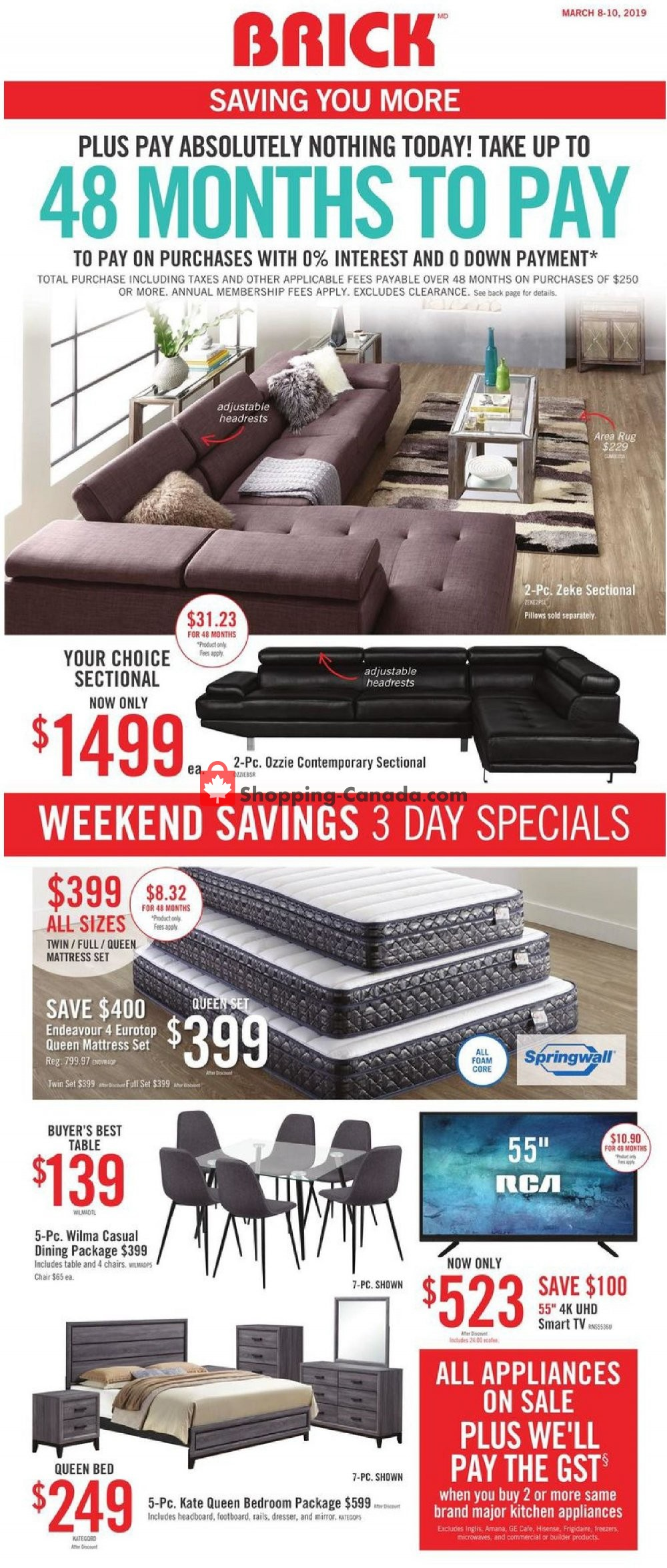 Flyer The Brick Canada - from Friday March 8, 2019 to Sunday March 10, 2019