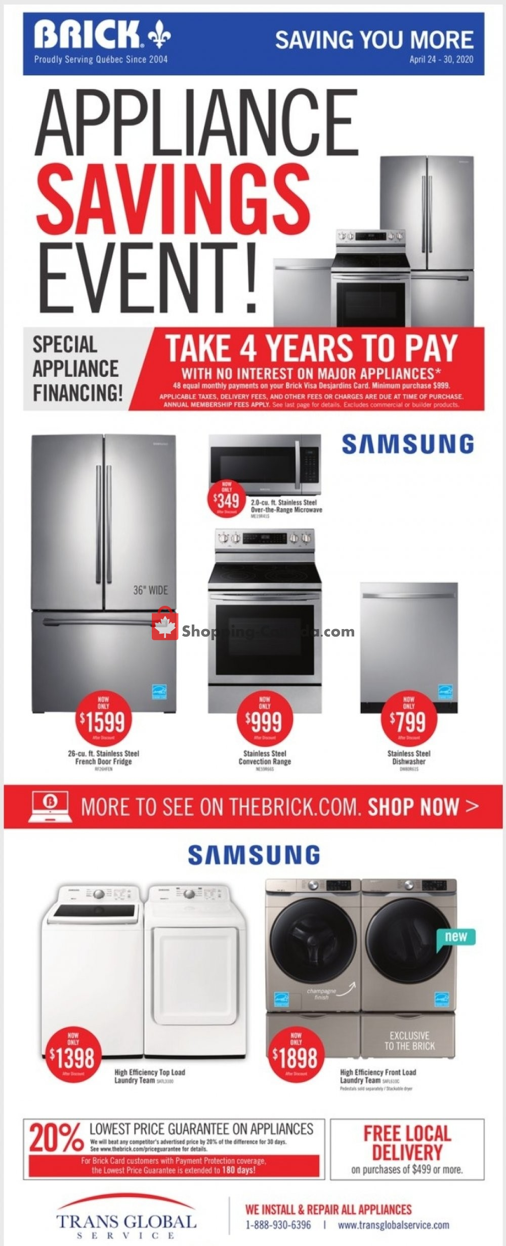 Flyer The Brick Canada - from Friday April 24, 2020 to Thursday April 30, 2020
