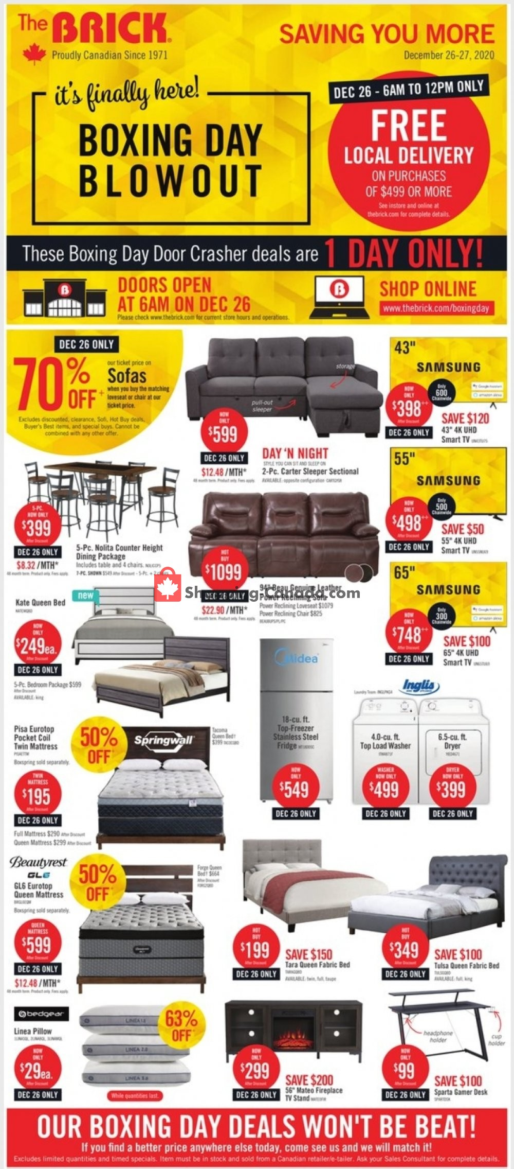 Flyer The Brick Canada - from Monday December 21, 2020 to Thursday December 31, 2020