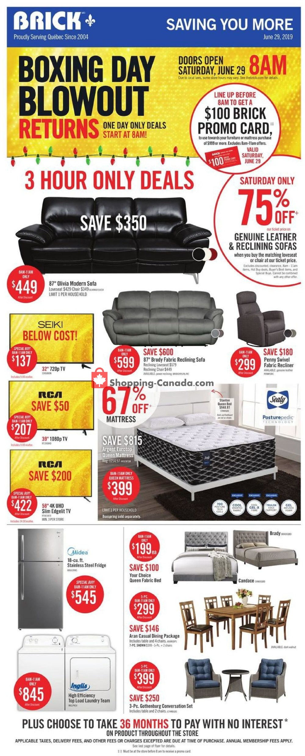 Flyer The Brick Canada - from Friday June 28, 2019 to Thursday July 4, 2019