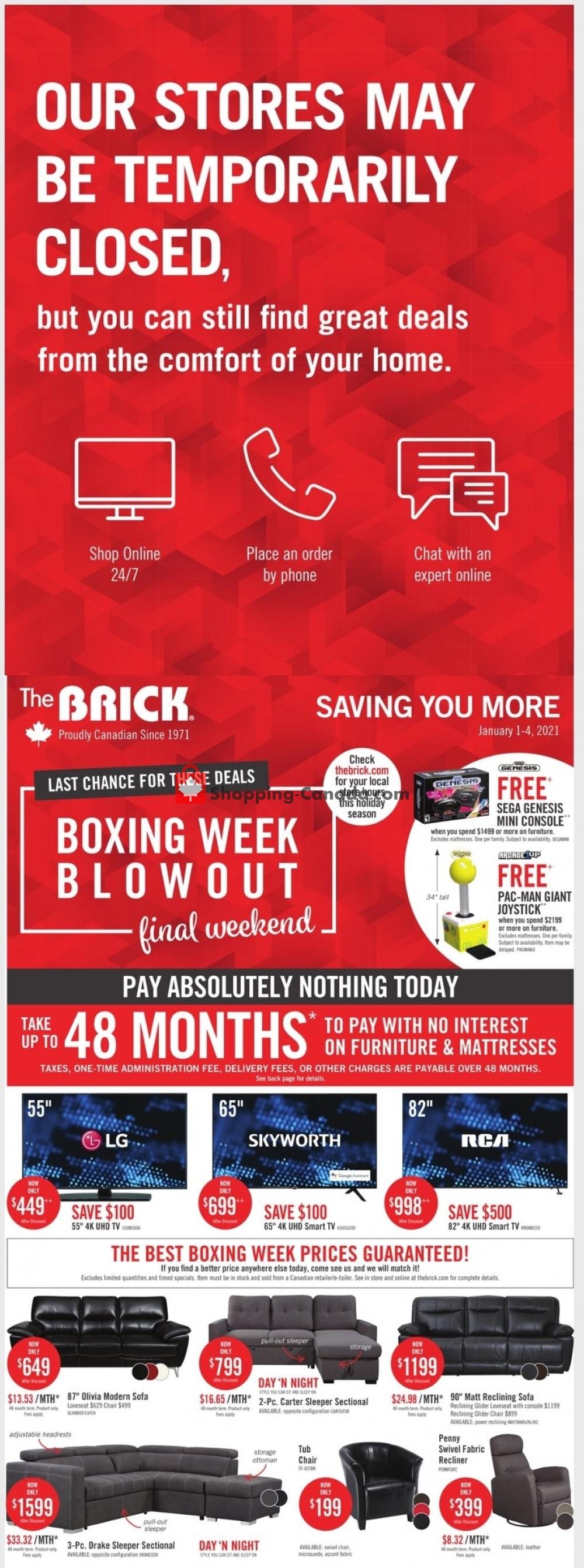 Flyer The Brick Canada - from Friday January 1, 2021 to Monday January 4, 2021