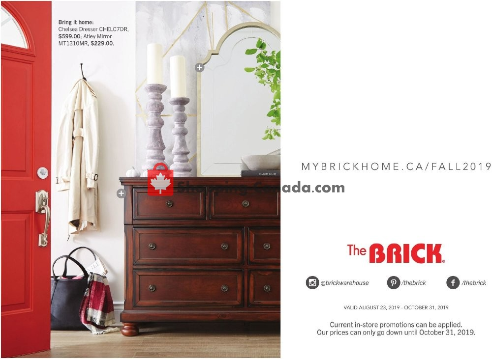 Flyer The Brick Canada - from Wednesday August 21, 2019 to Thursday October 31, 2019