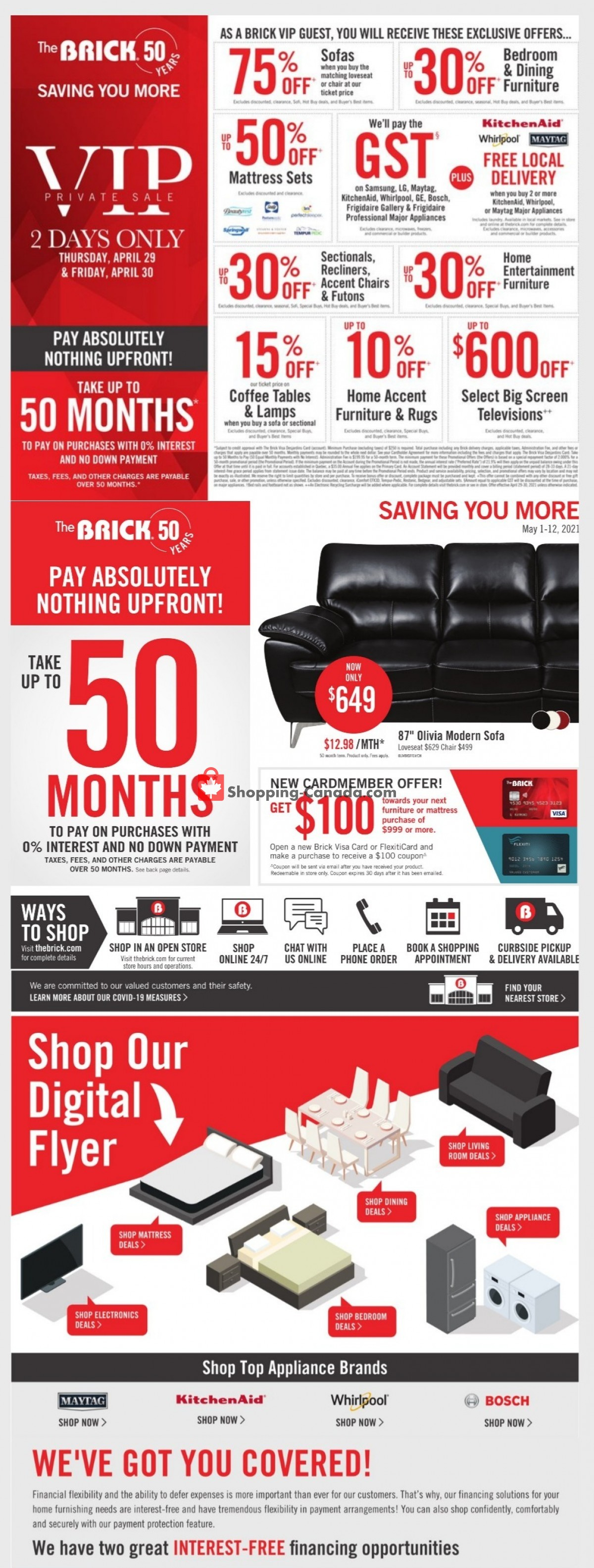 Flyer The Brick Canada - from Saturday May 1, 2021 to Wednesday May 12, 2021
