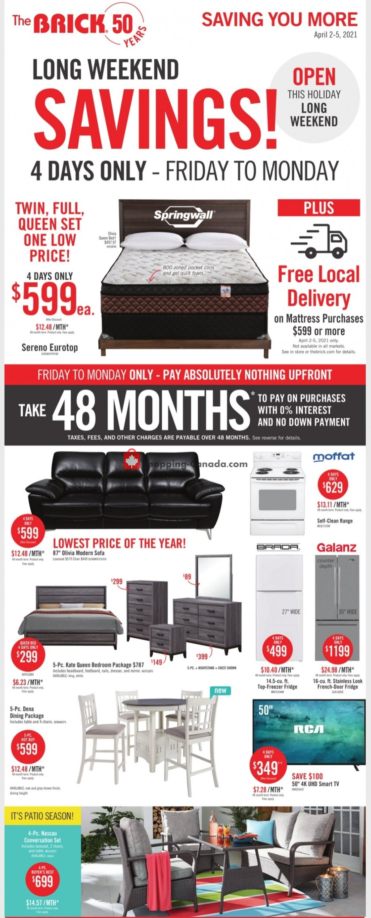 Flyer The Brick Canada - from Tuesday March 30, 2021 to Monday April 12, 2021