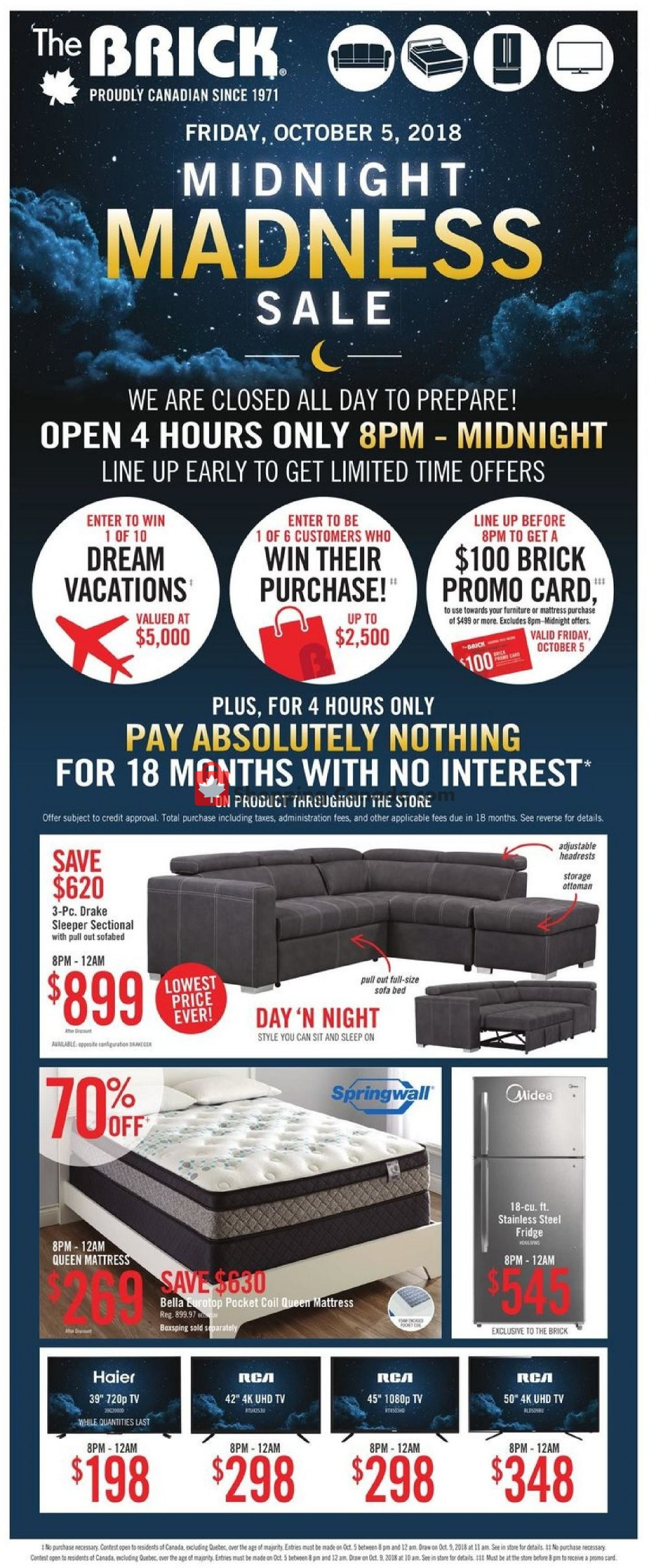 Flyer The Brick Canada - from Tuesday October 2, 2018 to Wednesday October 10, 2018
