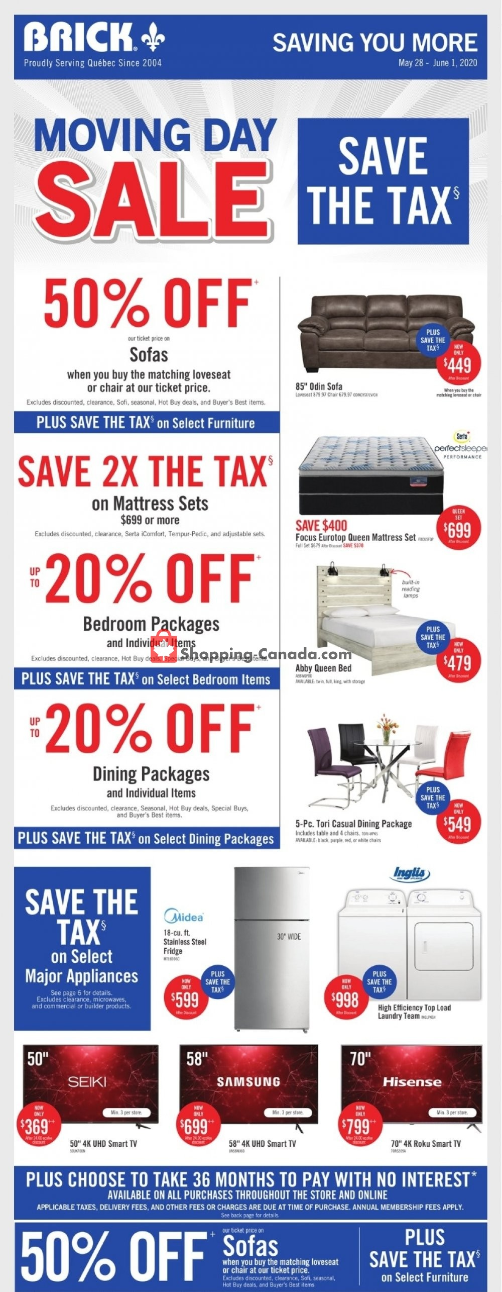Flyer The Brick Canada - from Thursday May 28, 2020 to Monday June 1, 2020