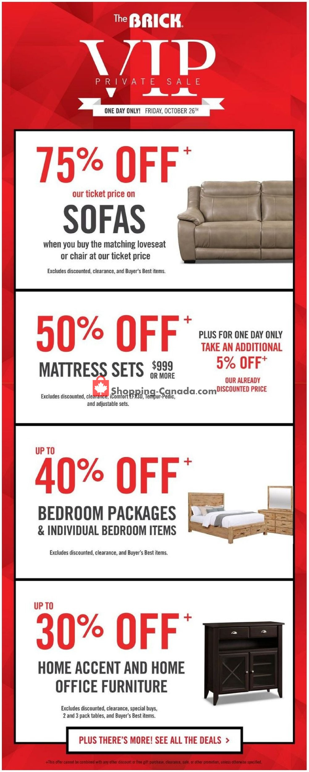 Flyer The Brick Canada - from Saturday October 27, 2018 to Sunday October 28, 2018