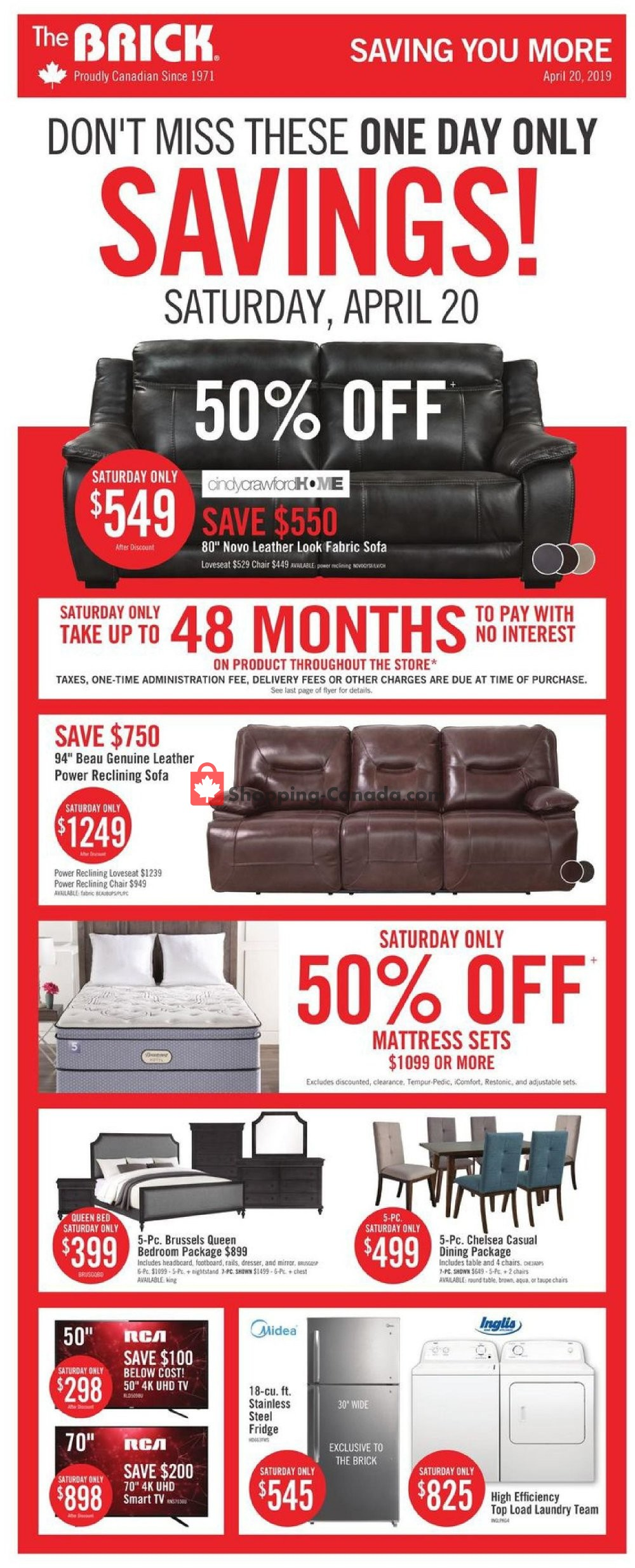 Flyer The Brick Canada - from Tuesday April 16, 2019 to Wednesday May 1, 2019