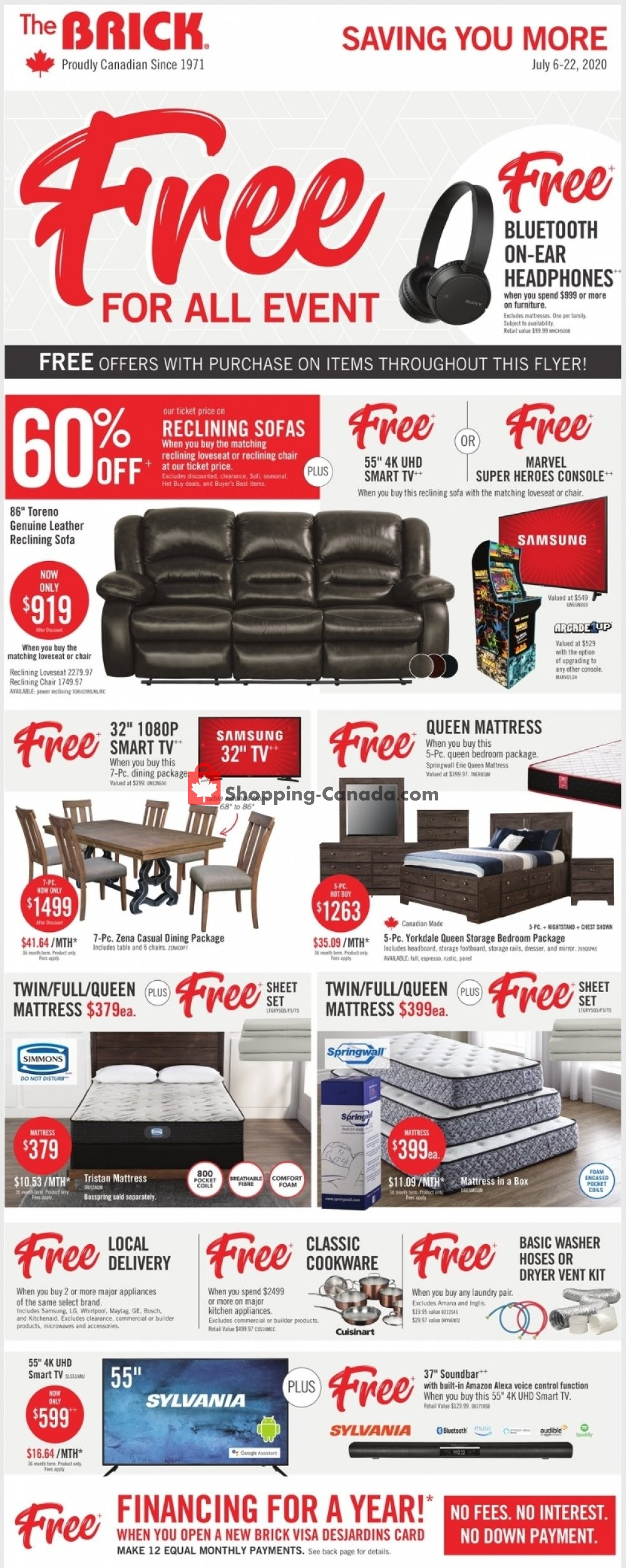 Flyer The Brick Canada - from Monday July 6, 2020 to Wednesday July 22, 2020
