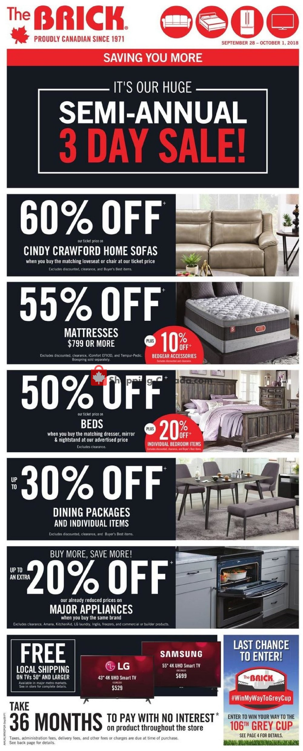 Flyer The Brick Canada - from Friday September 28, 2018 to Monday October 1, 2018