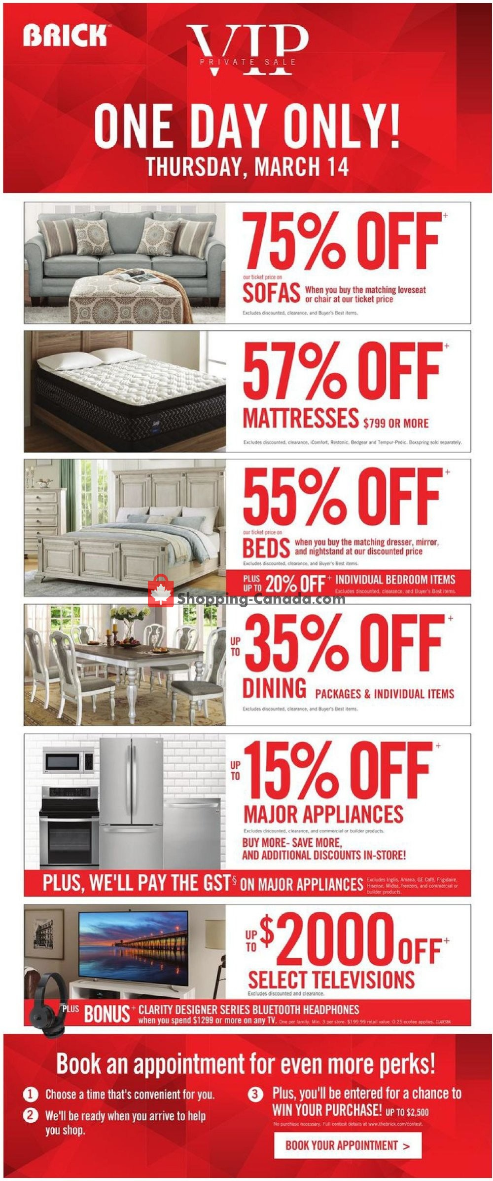 Flyer The Brick Canada - from Thursday March 14, 2019 to Monday March 18, 2019