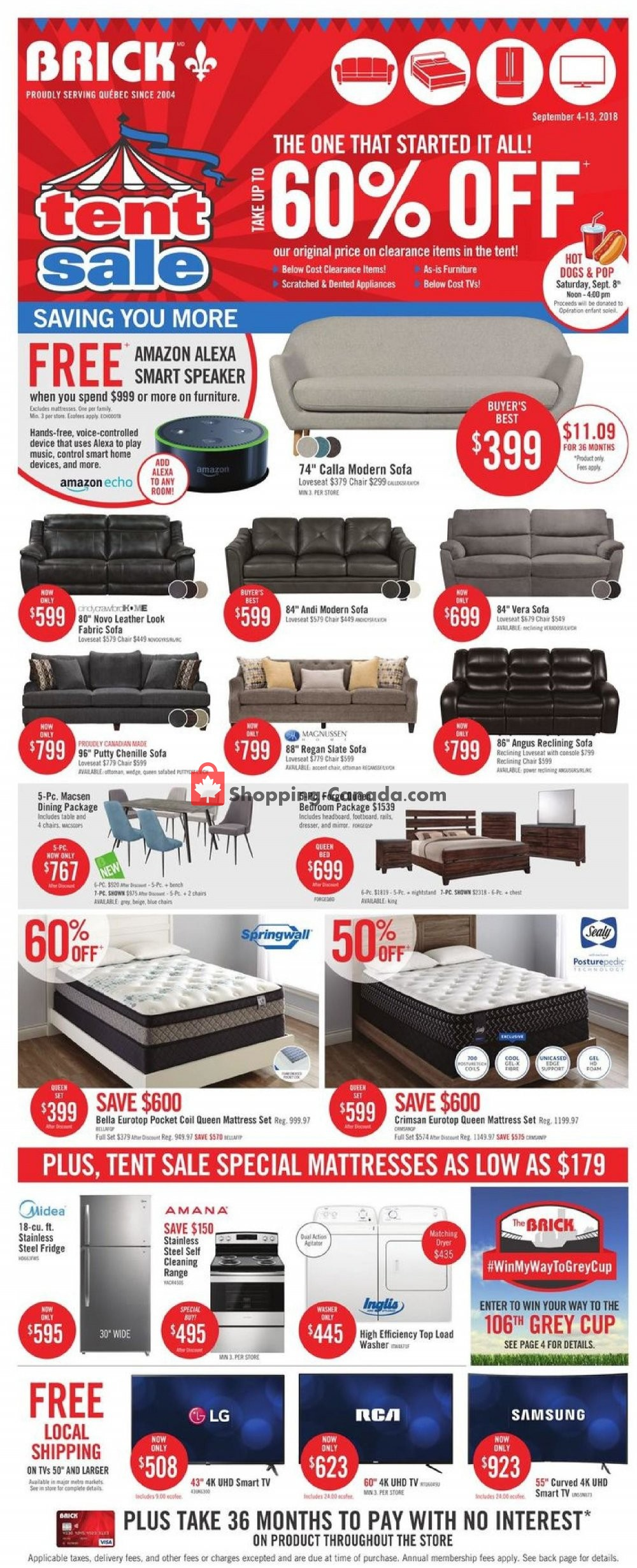 Tent Sale Canada >> Flyer And Weekly Ads The Brick Canada Tent Sale From