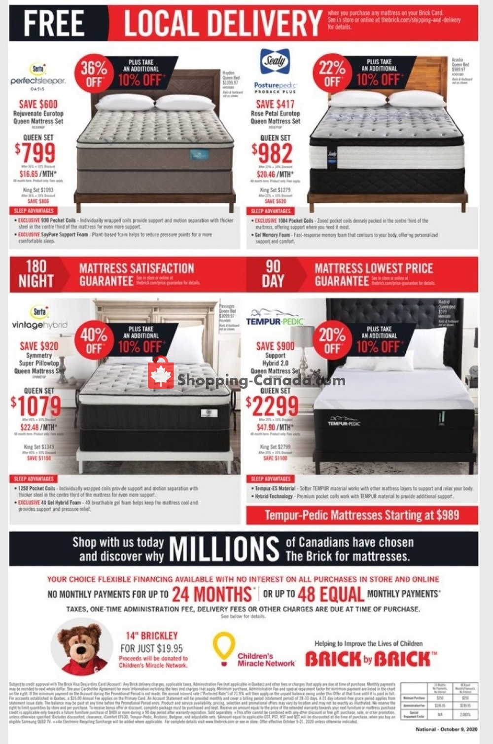 Flyer The Brick Canada - from Friday October 9, 2020 to Thursday October 22, 2020