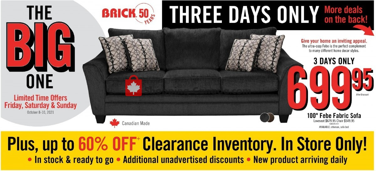 Flyer The Brick Canada - from Friday October 8, 2021 to Thursday October 21, 2021