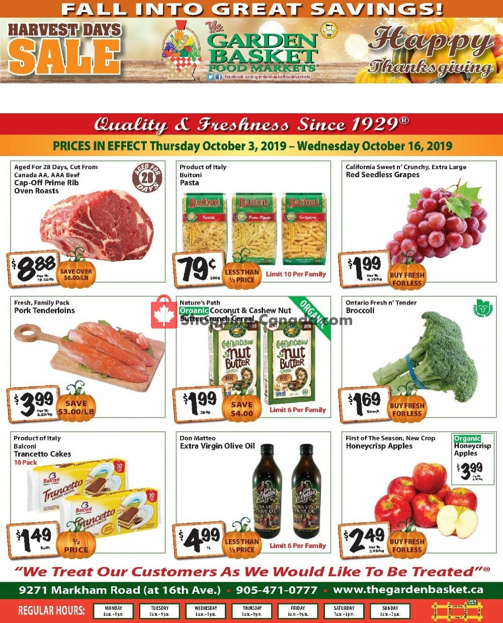 Flyer The Garden Basket Canada - from Thursday October 3, 2019 to Wednesday October 16, 2019