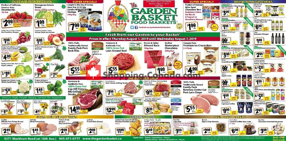Flyer The Garden Basket Canada - from Thursday August 1, 2019 to Wednesday August 7, 2019