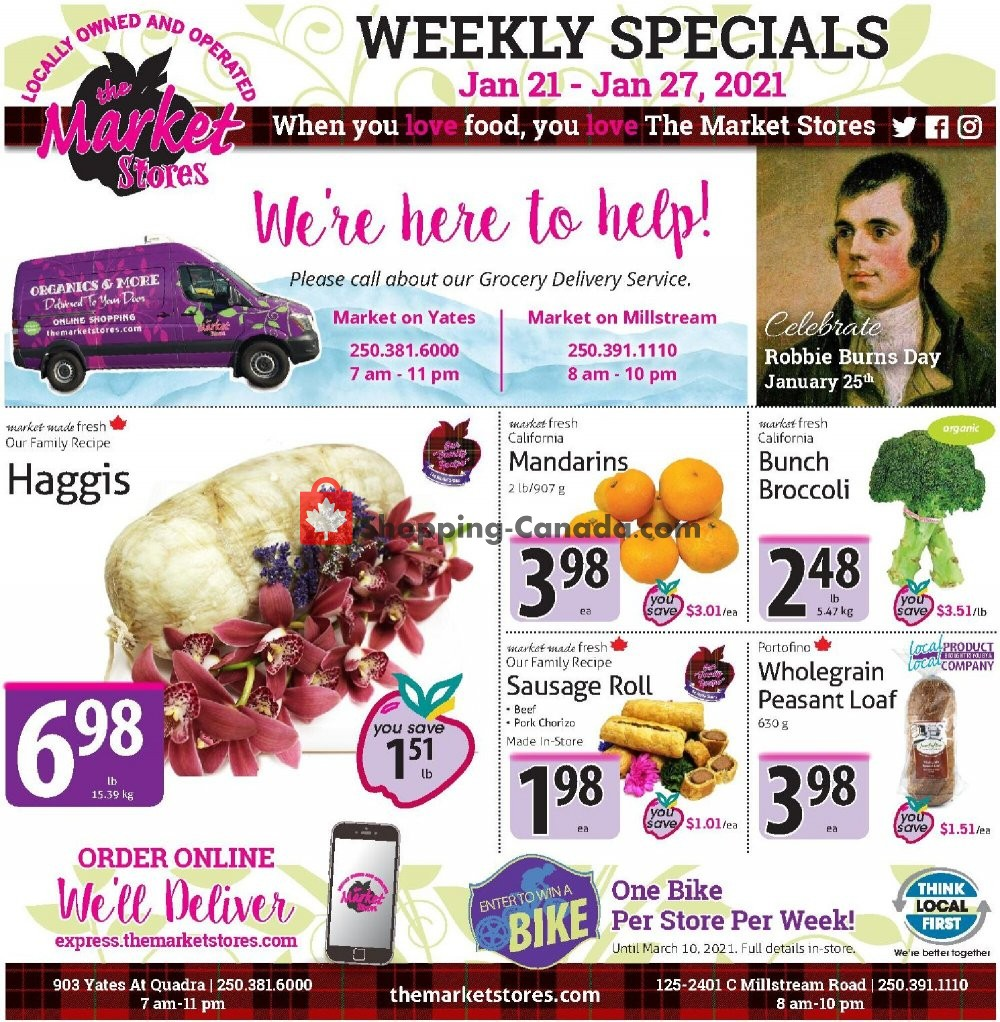 Flyer The Market Stores Canada - from Thursday January 21, 2021 to Wednesday January 27, 2021
