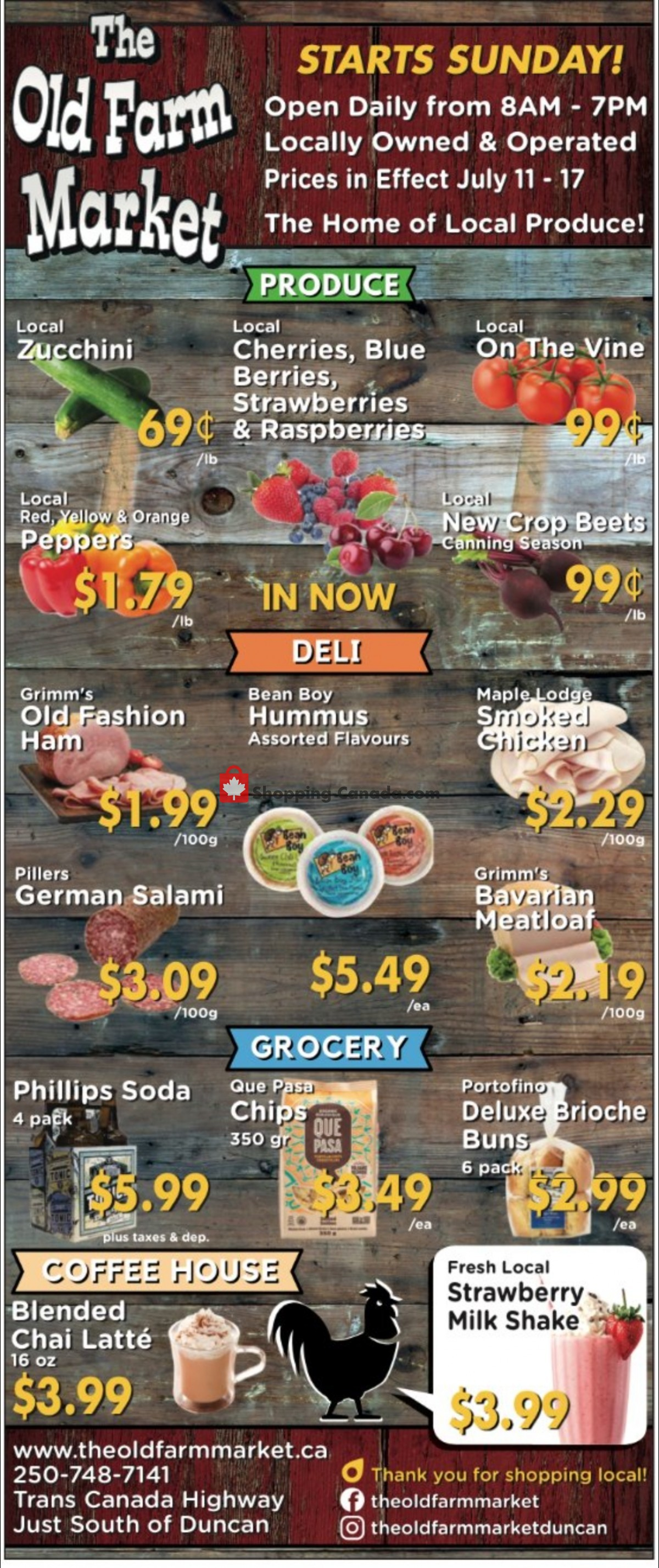 Flyer The Old Farm Market Canada - from Sunday July 11, 2021 to Saturday July 17, 2021