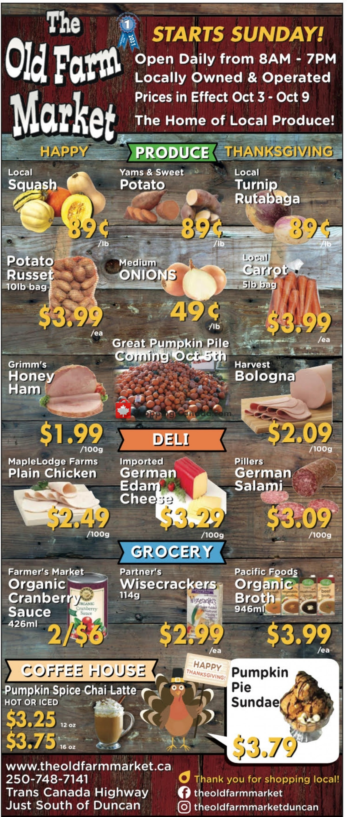Flyer The Old Farm Market Canada - from Sunday October 3, 2021 to Saturday October 9, 2021