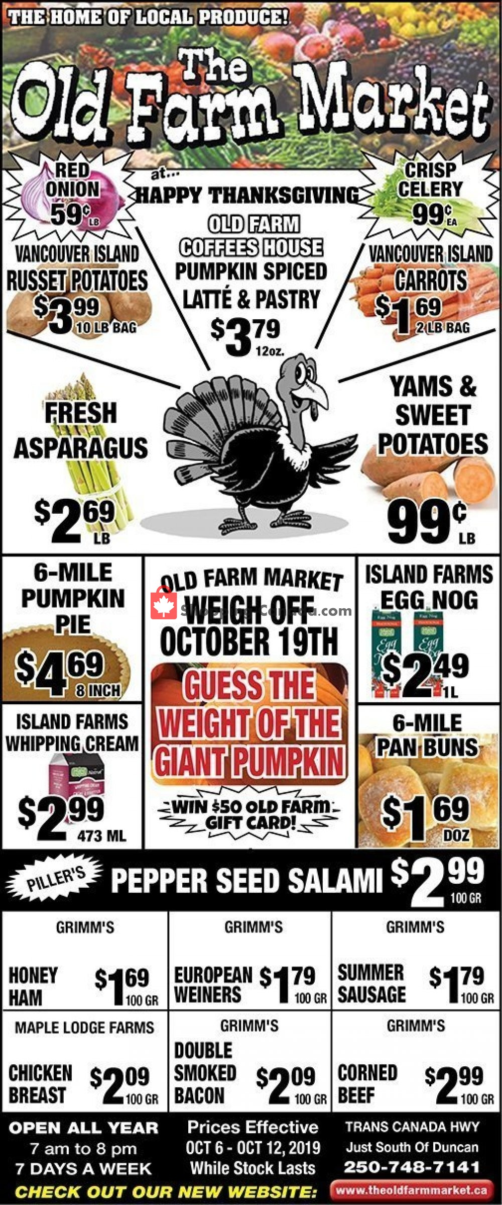 Flyer The Old Farm Market Canada - from Sunday October 6, 2019 to Saturday October 12, 2019