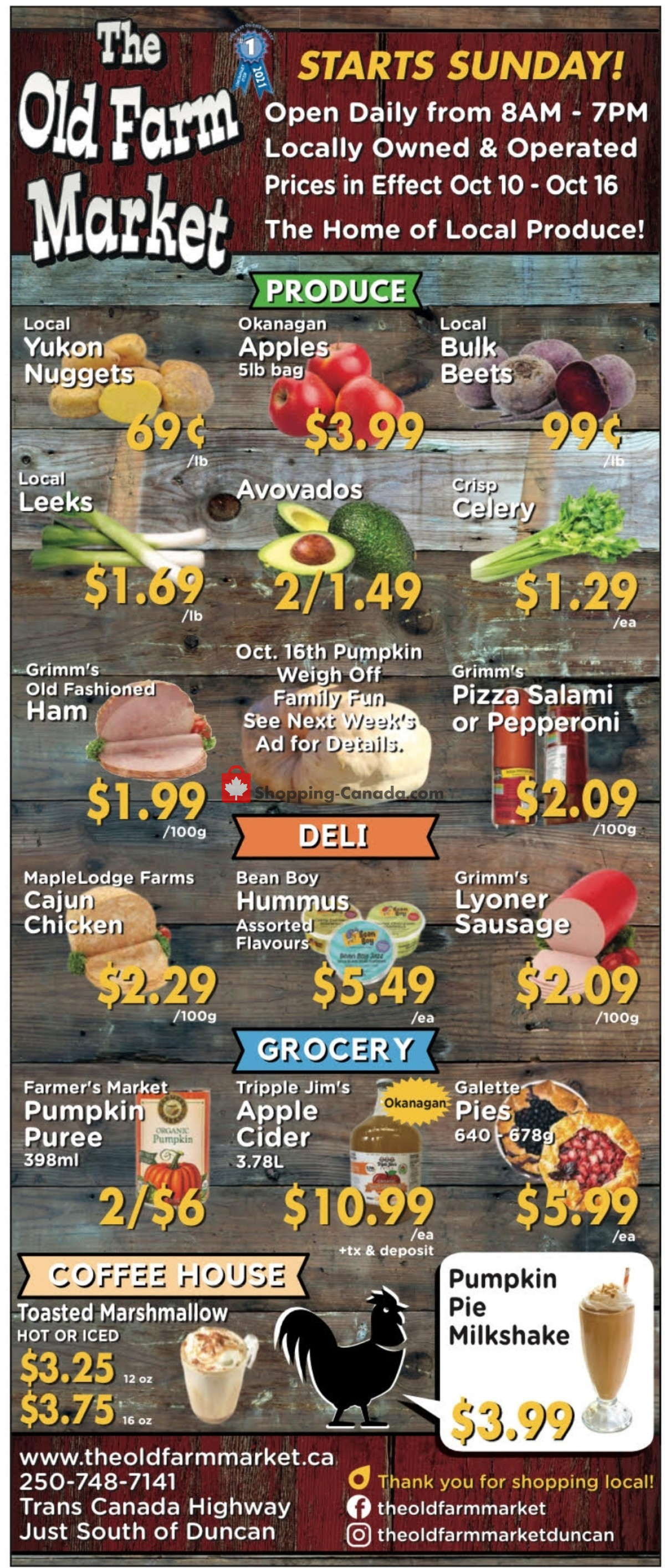 Flyer The Old Farm Market Canada - from Sunday October 10, 2021 to Saturday October 16, 2021