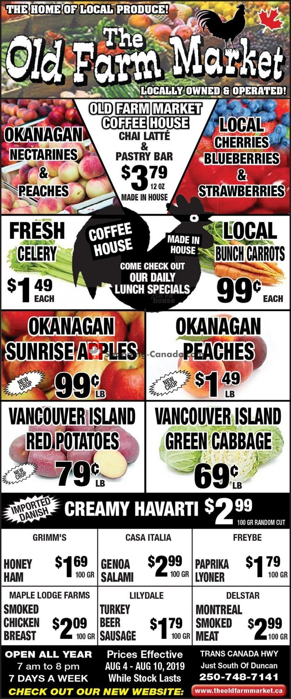 Flyer The Old Farm Market Canada - from Sunday August 4, 2019 to Saturday August 10, 2019