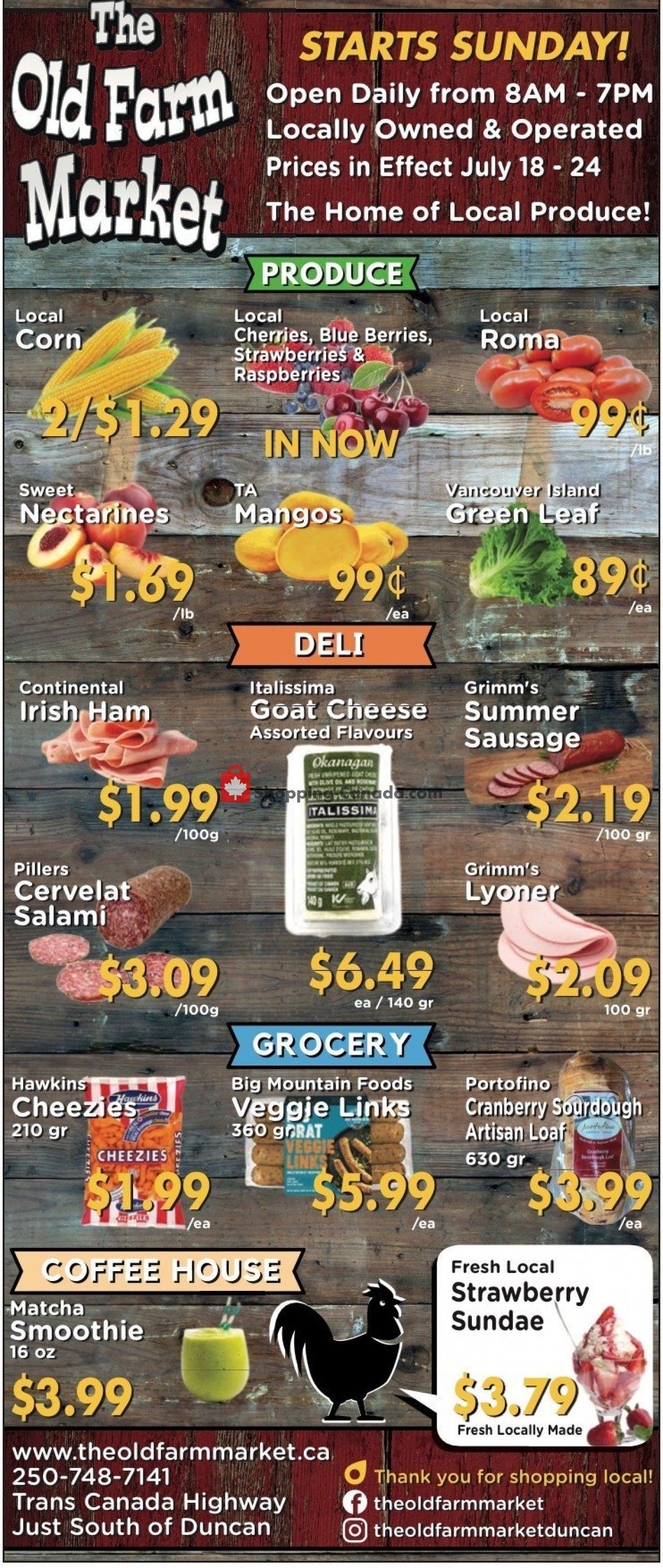 Flyer The Old Farm Market Canada - from Sunday July 18, 2021 to Saturday July 24, 2021