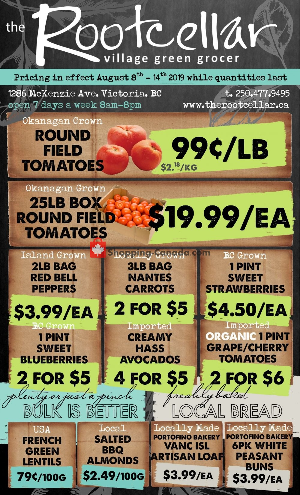 Flyer The Root Cellar Canada - from Thursday August 8, 2019 to Wednesday August 14, 2019