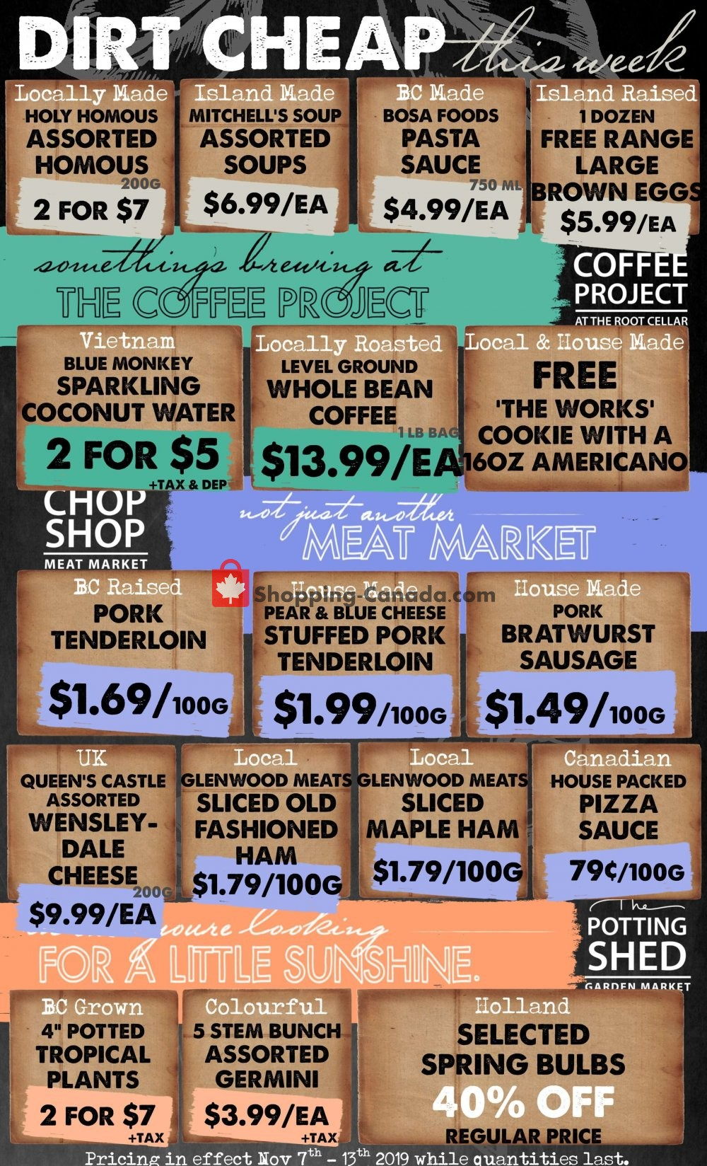 Flyer The Root Cellar Canada - from Thursday November 7, 2019 to Wednesday November 13, 2019