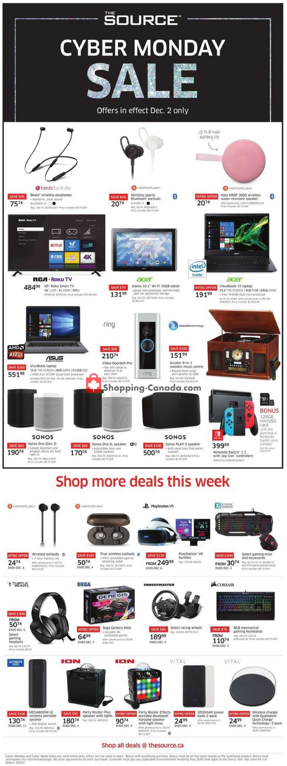 Flyer The Source Canada - from Monday December 2, 2019 to Wednesday December 4, 2019