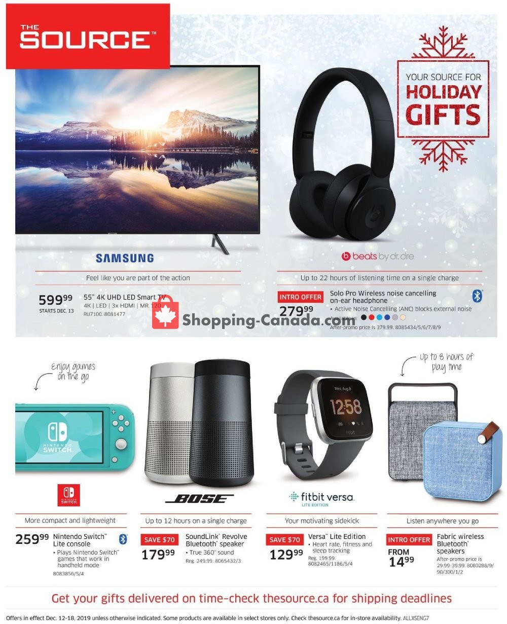 Flyer The Source Canada - from Thursday December 12, 2019 to Wednesday December 18, 2019