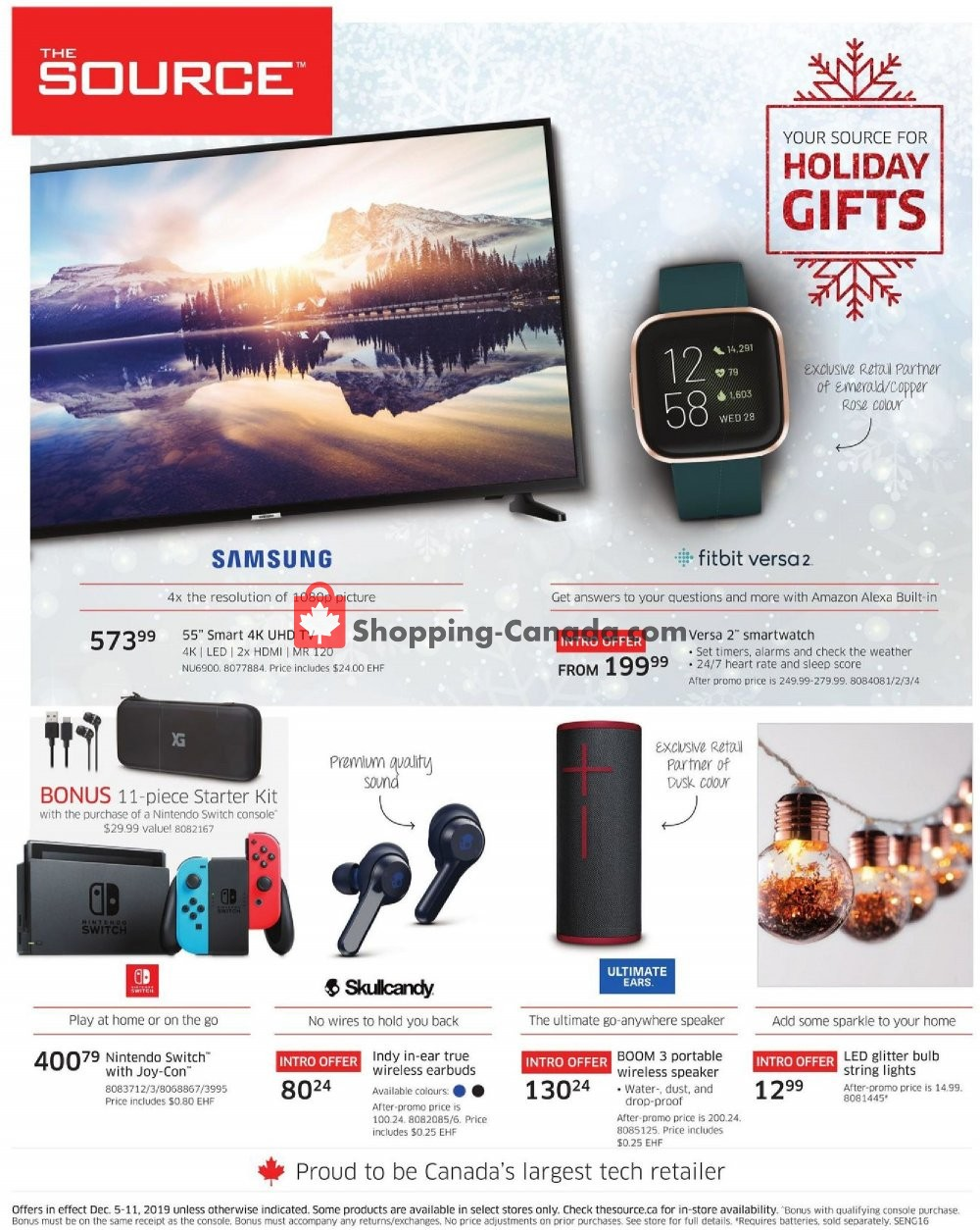 Flyer The Source Canada - from Thursday December 5, 2019 to Wednesday December 11, 2019