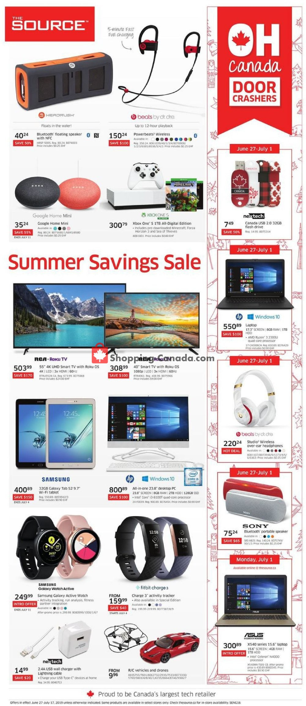 Flyer The Source Canada - from Thursday June 27, 2019 to Wednesday July 17, 2019