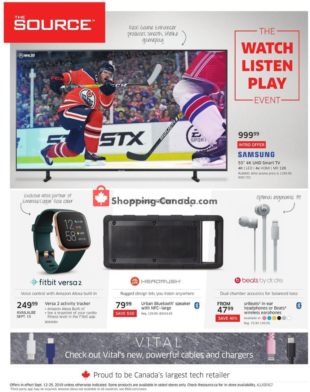 Flyer The Source Canada - from Thursday September 12, 2019 to Wednesday September 25, 2019