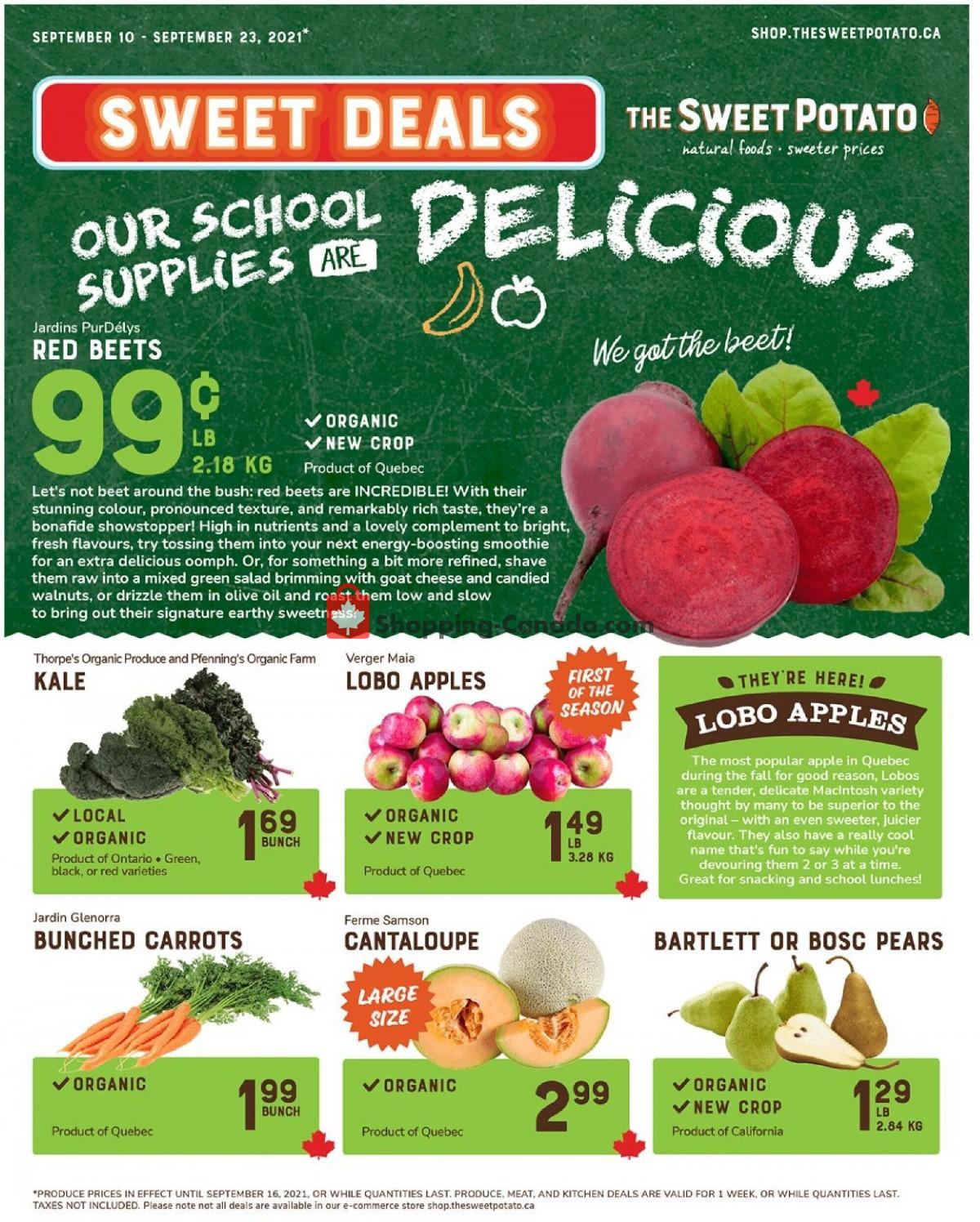 Flyer The Sweet Potato Canada - from Friday September 10, 2021 to Thursday September 23, 2021