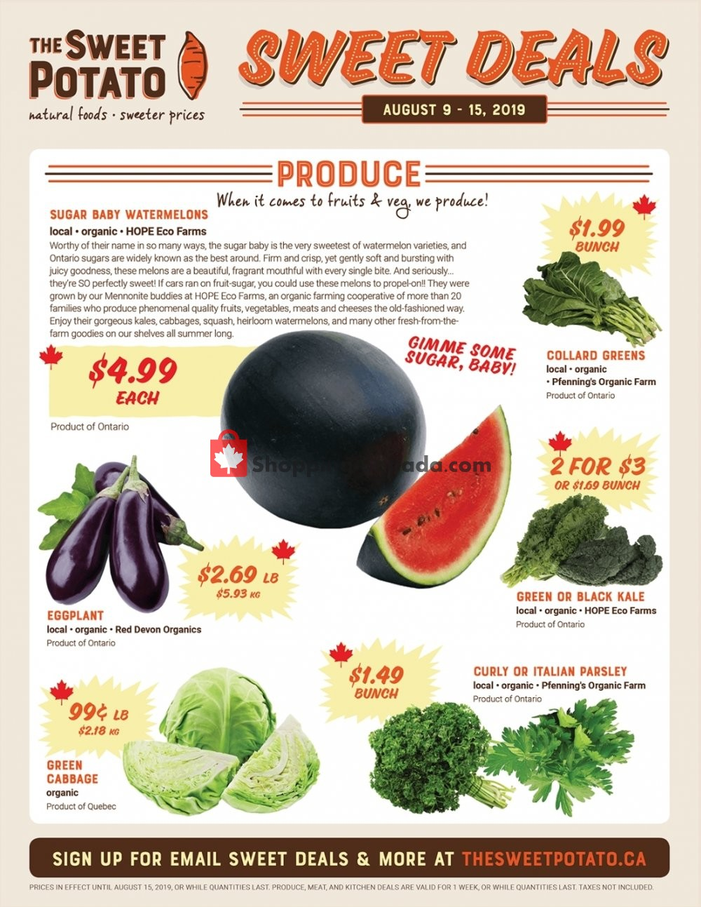 Flyer The Sweet Potato Canada - from Friday August 9, 2019 to Thursday August 15, 2019